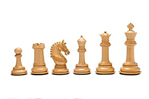 "Beautiful Staunton Luxury Chess Set in Ebony Wood & Box Wood - 4.6"" King"