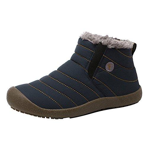 Men Women Winter Ankle Boots - Unisex Slip-On Waterproof Hiking Outdoor Lightweight Snow Boots Warm Lined Fur Sneaker Non-slip Flat Shoes Casual Booties Highdas Dark Blue MkCQMgfjpr