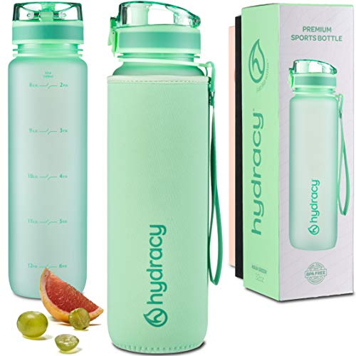 Hydracy Water Bottle with Time Marker – Large 1 Liter 32 Oz BPA Free Water Bottle – Leak Proof & No Sweat Gym Bottle with Fruit Infuser Strainer – Ideal Gift for Fitness or Sports – Aqua Green