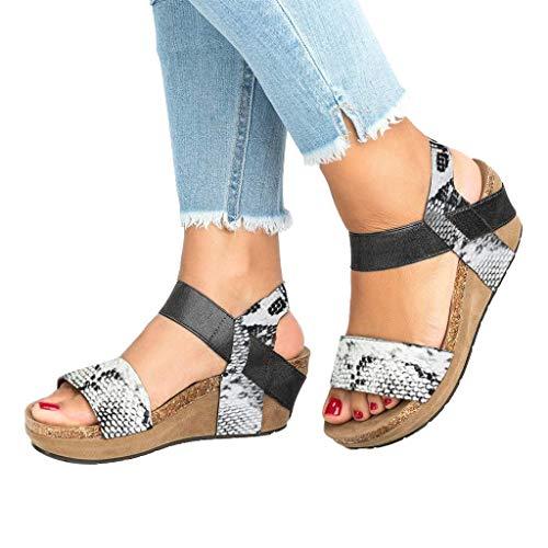 (Nihewoo Women Sandals Leopard Print Shoes Open Toe Sandals Thick Bottom Shoes High Heeled Sandals Platform Sandals Rome Shoes White)