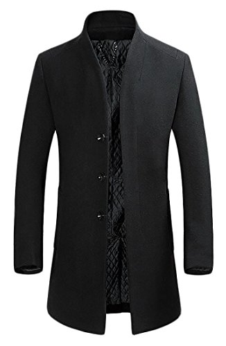 XQS Mens Casual Business Wool-Blend Winter Thick Outwear Trench Coat Black1 M by XQS