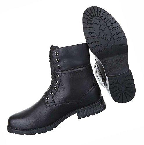 Herren Boots Schuhe Schnür Stiefel Schwarz Beige 39 40 41 42 43 44 Schwarz