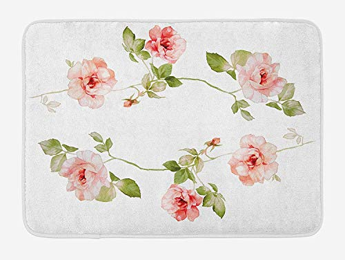 Better2019 Floral Bath Mat, Romantic Rose Flower Petals Shabby Chic Kitsch Love Blooms Design, Plush Bathroom Decor Mat with Non Slip Backing, 16 X 24 Inches, Reseda Green Peach Coral