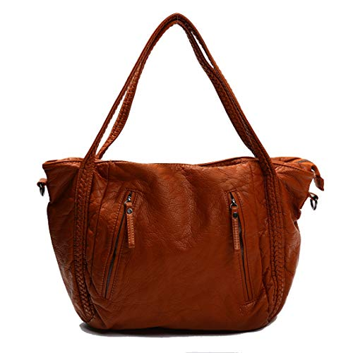 Big Capacity Fashion Women Handbags Soft Leather Oversized Lady Tote Purse Woven Pattern Shoulder Bag Brown ()