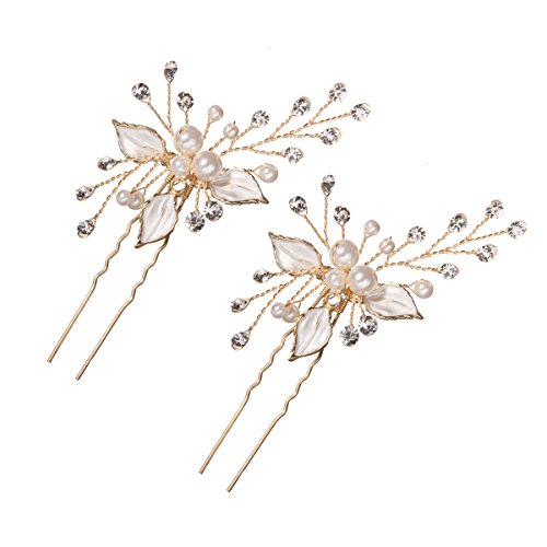 Price comparison product image Feyarl Handmade Bridal Gold Hair Pin Stick with Silver Leaves, Inlaid Pearl Sparkle Crystal for Hair Decoration (Gold)