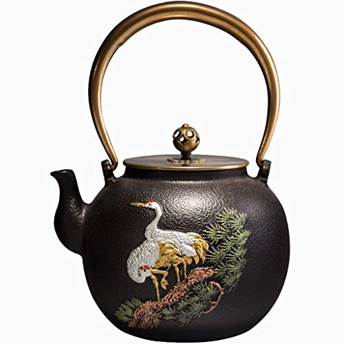 (Teapot Cast Iron Teapot, Japanese Style Tetsubin Tea Kettle 1.4L   Cast Iron Tea Kettle to Keep Tea Warm   Retro Painted pattern High end cast Iron kettle (Color : A))
