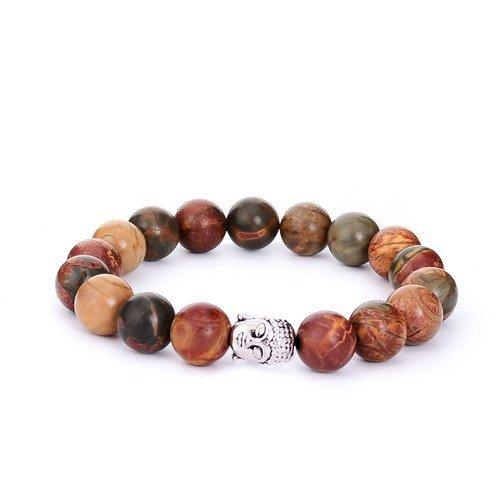 Picasso Bracelet Bead (sedmart Picasso Stone Mens Buddha Beads Bracelet Gemstone Healing Handmade Jewelry)