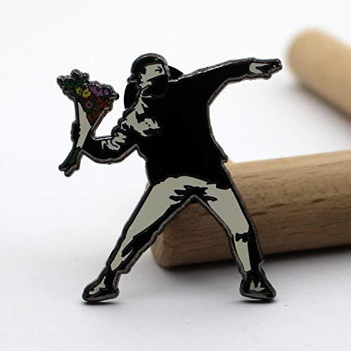(Banksy Art Pins Flower Thrower Pin )