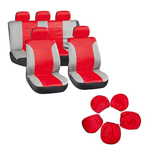 (Seat Cover cciyu Universal Car Seat Cushion w/Headrest - 100% Breathable Washable Automotive Seat Covers Replacement Replacement fit for Most Cars Trucks Vans (Red on)