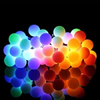 Outdoor String Lights, 18.7ft 40 LED Waterproof Ball Lights, 8 Lighting Modes Dimmable Remote Ball, Battery Powered Starry Fairy String Lights Garden,Christmas Tree, Parties-ALOVECO
