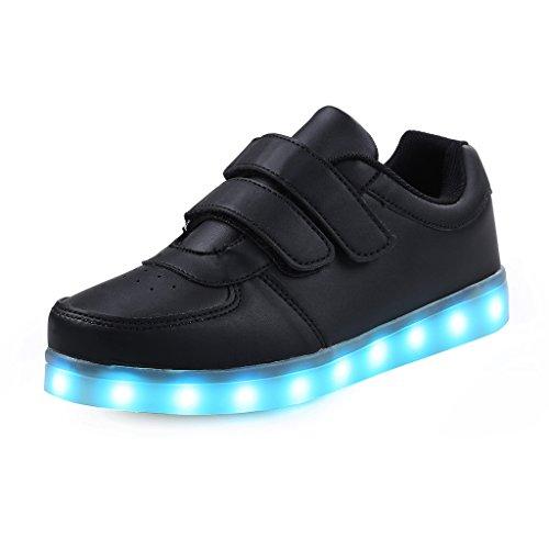 SAGUARO® Unisex niños USB Carga LED Luz Luminosas Flash Zapatos Zapatillas de Deporte, Black, 35 EU