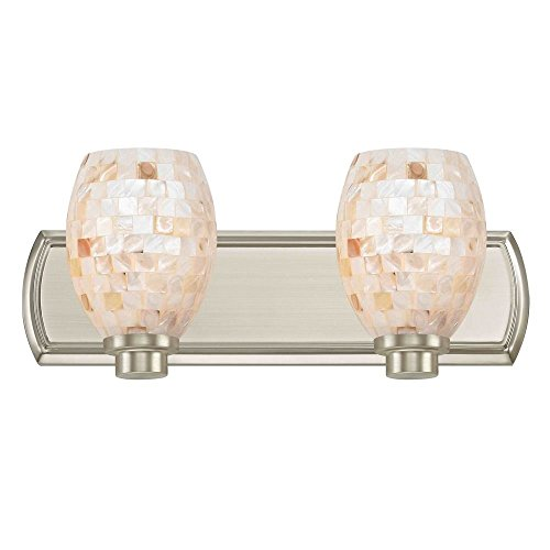 2-Light Bathroom Light with Mosaic Glass in Satin Nickel by Design Classics (Image #2)