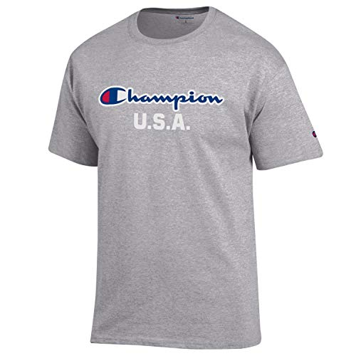 Champion Men's USA/Military Collection-Air Force, Army, Marines-Cotton T-Shirt (X-Large, USA/Oxford Grey Script Over ()