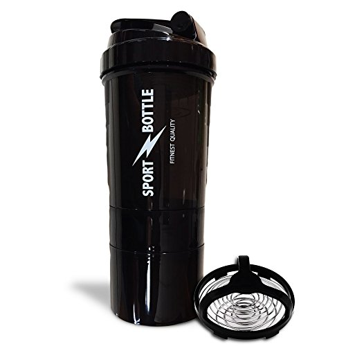 Protein Shaker Bottle for The Determined Athletes and Bodybuilders - 17-Ounce Workout Shaking Bottles with Twist n 'Lock Storage Compartments and Pill Tray - with Stainless Steel Spiral by Benjosur