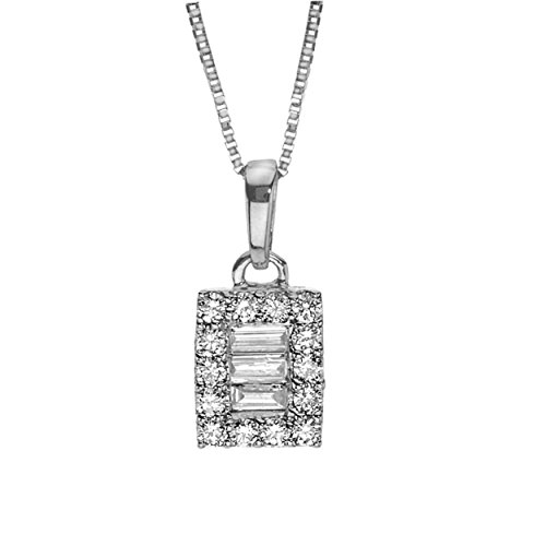 Diamond Necklace 1/5 ct tw Baguette/Round 10K White Gold