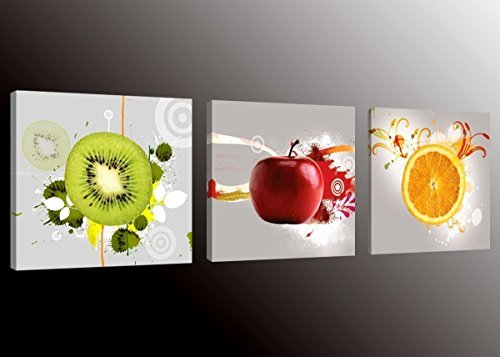 Formarkor Art Kx1656 Fruit Picture Canvas Wall Art Prints for Kitchen,Framed Food Canvas Painting for Kitchen,Red Apple,Orange,Green Kiwi Print on Canvas Art Home Wall Decor ()