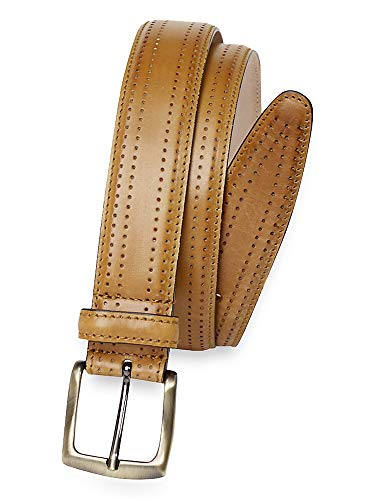 Paul Fredrick Men's Andrew Perforated Leather Belt Camel 34