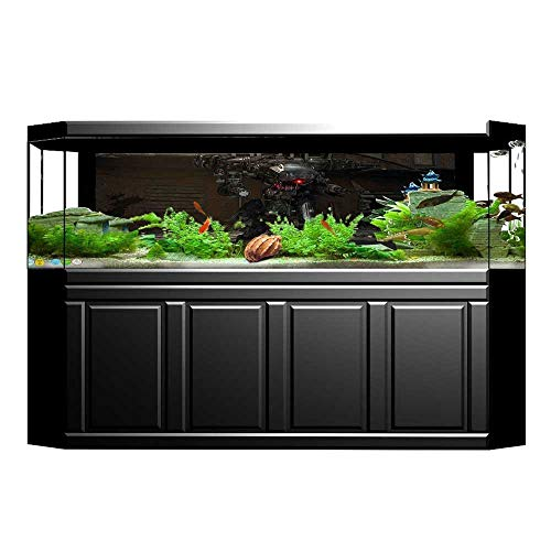UHOO2018 Aquarium Background Digital Robot with Vintage Mechanics Science Fiction Picture Silver Grey Brown Wallpaper Fish Tank Backdrop Static Cling ()