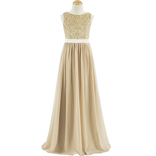 Floor Neck (Lanbaodress A-Line Scoop Neck Floor Length Chiffon Junior Bridesmaid Dress with Lace J12 Champagne)