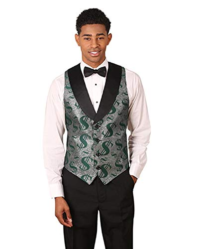 Men's Green & Silver Dollar Sign Pattern Tuxedo Vest with Black Lapel and Black Bow Tie -
