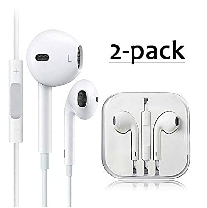 685924c240b Amazon.com: ALECTIDE Earbuds/Earphones/Headphones Stereo Mic Remote Control  Compatible with Apple iPhone 6s/6 plus/6/5s/se/5c/iPad iPod (White)(2Pack):  Home ...
