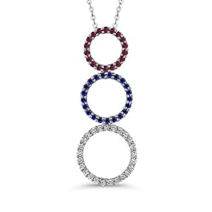 Multi Color Gemstone Pendant with Chain in 10K White Gold (2/3 cttw, Colour GH, Clarity I2-I3)