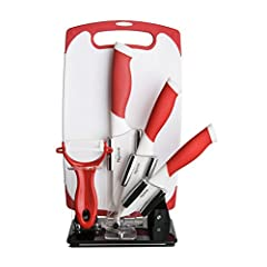 """New England Cutlery's 6-Piece Red and White Ceramic Cutlery and Kitchen Tool Set provides a colorful and all-encompassing set for all of your kitchen and cooking tasks. The set includes: 3"""" Red and White Paring Knife, 4"""" Utility Knife, 5"""" San..."""