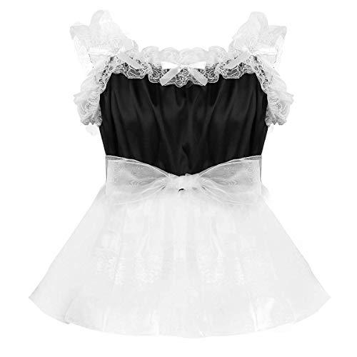 YiZYiF Mens Adult Sissy Satin Frilly Crossdressing Dress Organza Tutu Skirted Pajamas Black XX-Large -