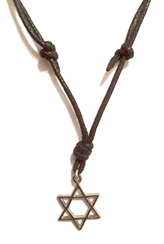 Sliding Knot Necklace - Handmade UNISEX Metal Pendant Necklace on a Black Cord with Adjustable Length Sliding Knots (Star of David-Silver)