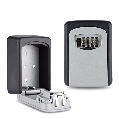 QERI Key Lock Box with 4 Settable Digit Combination, Outdoor Wall Mounted Key Safe Box Made of Weather Resistant Steel for Indoors or Outdoors Holds up to 5 Keys (12 Step Digital Key)