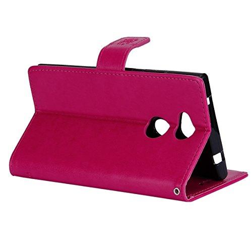 Funda Sony Xperia L2,SainCat Funda de cuero sintético tipo billetera con correa de cordón de Suave PU Carcasa Con Tapa y Cartera,Carcasa de Cuero Suave PU Leather de piel mariposa Funda Wallet Case Co Rosa roja