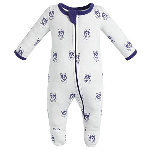 Owlivia Organic Cotton Baby Boy Girl Zip Front Sleep 'N Play, Footed Sleeper, Long Sleeve (Size 0-18 Month)(6-12Months,Violet Dog)