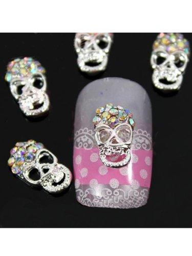 Vip Beauty Shop Sellingpillar 10pcs Silver Skull Alloy 3d Ab Rhinestone Crystal Nail Art Tips Slice Decoration