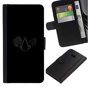 YiPhone /// Tirón de la caja Cartera de cuero con ranuras para tarjetas - Bandera Asesinos - HTC One M8