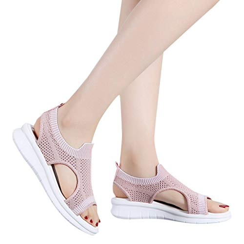 TnaIolral 2019 Women Sandals Open Toe Breathable Comfort Hollow Out Summer Wedges Mesh Shoes (US:6.5, Pink)