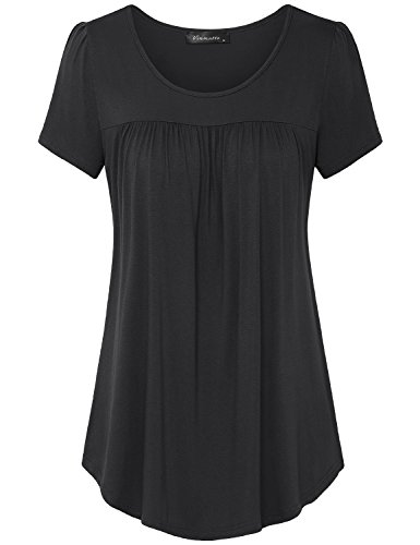 Vinmatto Women's Scoop Neck Pleated Blouse Top Tunic Shirt (M, Solid Black) - Neck Tunic Blouse