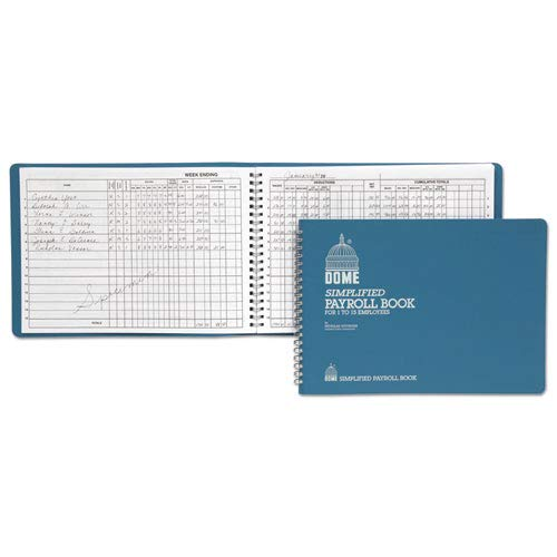 Sold as 1 Each Simplified Payroll Record Light Blue Vinyl Cover 7 1//2 x 10 1//2 Pages