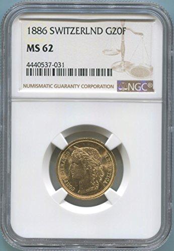 (1886 CH 20 Franc Gold MS62 NGC)