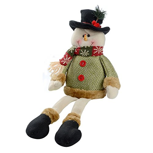 Saim Christmas Sitting Snowman Figurine Toy Xmas Home Indoor Table Ornament Decorations w Top Hat
