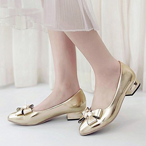 Aisun Womens Elegant Low Cut Dressy Pointed Toe Slip On Low Heels Pumps Shoes With Bows Gold heHnLma