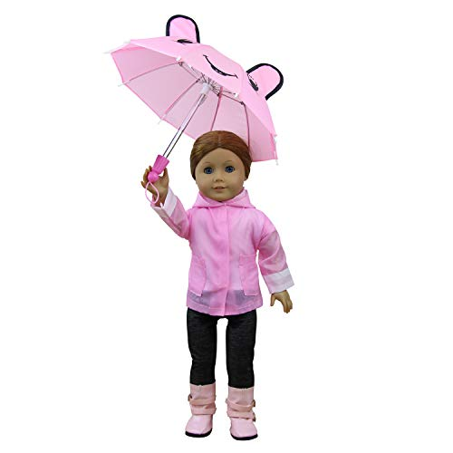 ZITA ELEMENT 6 PCS Raincoat & Accessories for American 18 Inch Girl Doll Clothes Outfits | Rainwear Jacket, Umbrella, Shoes, Hat, Pants and Shirt - Pink