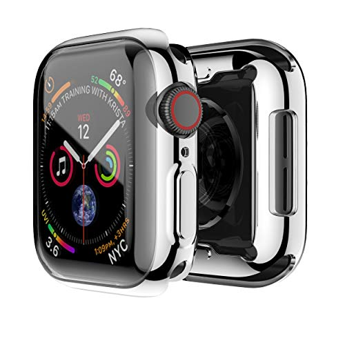 Smiling Apple Watch 4 Case with Buit in TPU Screen Protector 40mm - All Around Protective Case High Definition Clear Ultra-Thin Cover Apple iwatch 40mm Series 4 (Silver, 40mm)