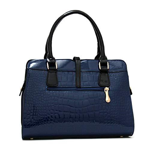 A4 étudiant JINHONGJ à PU Hydrofuge Blue d'épaule pour Main Color Grande Blue Banlieue 2way Femmes capacité réglable Sacs Cover Format Cuir FPZqwF
