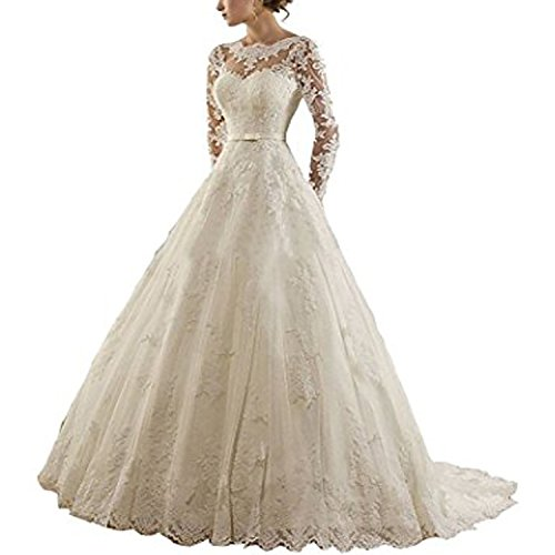 8377a8e9bf5 KapokBanyan Women s Jewel Lace Applique Long Sleeve Chapel Wedding Dress  Ball Bridal Gowns