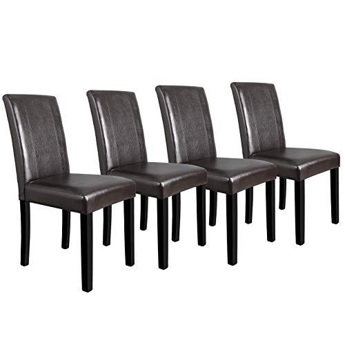 Chippendale Arm Chair Finish - Simple Happyness Elegant Luxury Chairs Home Kitchen Bistro Hotel Restaurant Dining Room Special Dinner Leather Wood Legs Contemporary Comfort Durable Water & Sunlight Resistant Espresso Set of 4