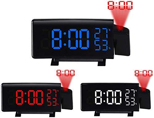 Dicstorets 3 Colores LED Digital Proyector Radio Reloj Despertador ...