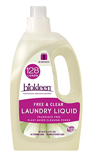 Biokleen Laundry Detergent Liquid, Concentrated, Eco-Friendly, Non-Toxic, Plant-Based, No Artificial Fragrance, Free & Clear, Unscented, 64 Ounces - 128 HE Loads/64 Standard Loads