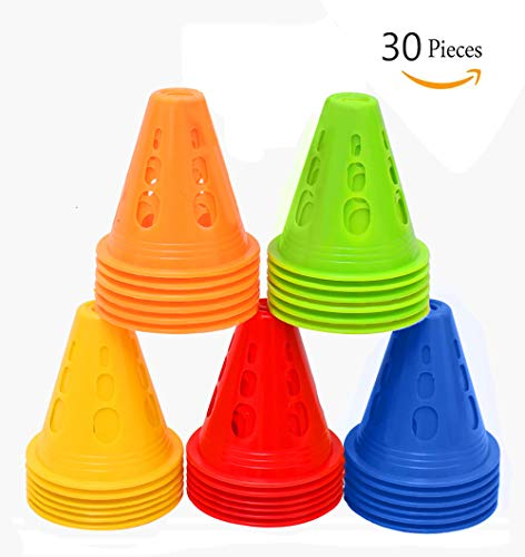 TOCO FREIDO Windproof Training Cones for Ultimate Soccer Football Training and Drills. Football Pylons, End Zone Markers, Soccer Goals and Skating Practice. Collapsible Traffic Safety (30 Pack) from TOCO FREIDO