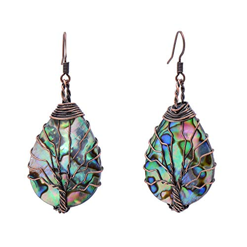 Tree Earrings - Tree of Life Hand Wrapped Sea Abalone Shell Earrings for Women