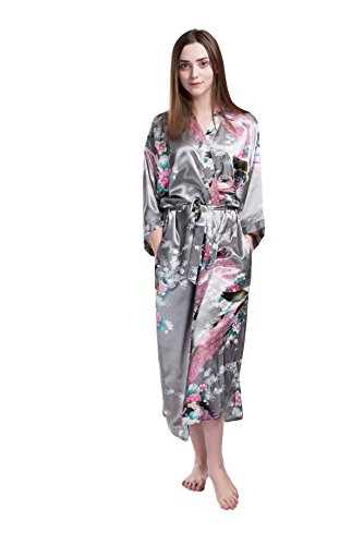 Women's Kimono Long Stain Robe with Pockets-Peacock and Blossoms Printed for Wedding Party